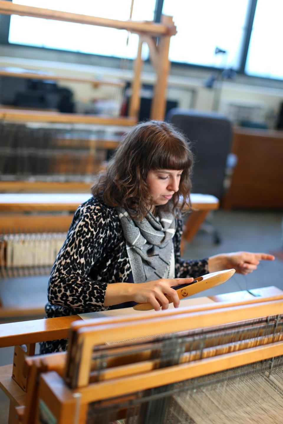 04132016 Lowell Ma Leanne Tremblay (cq) is a award winning textile design and fiber artist. She is photographed at her Lowell Studio .Boston Globe/Staff Photographer Jonathan Wiggs
