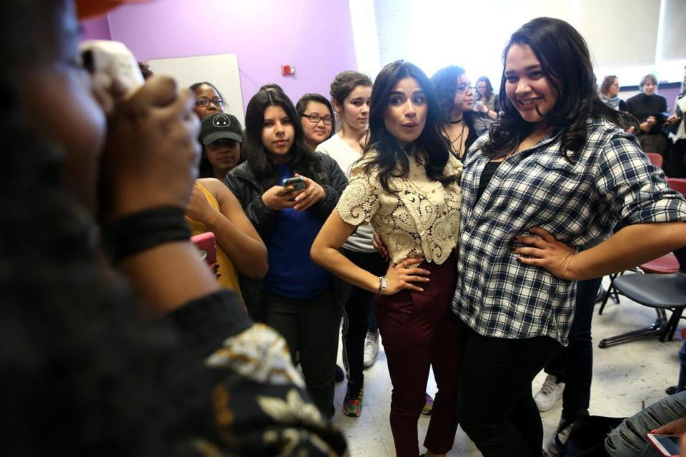 Diane Guerrero poses with students at Boston Arts Academy.