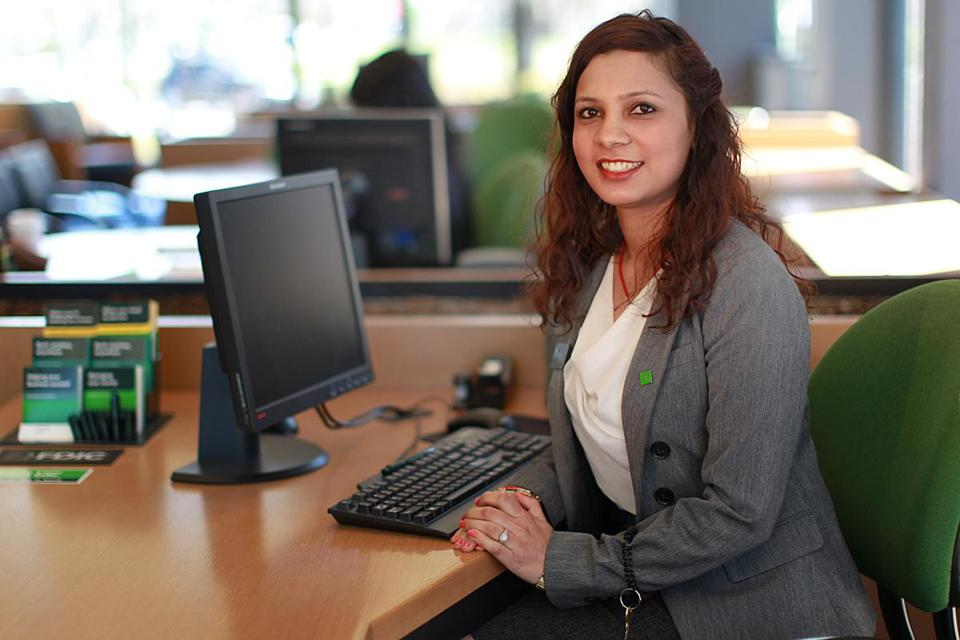 Cambridge, Ma., 04/14/16, Sudha Bhandari moved to the US from Nepal where she had a career in banking. Moved here and completed AACA's Careers in Banking and Finance Program. Now works at TD Bank as head teller. Suzanne Kreiter\Globe staff