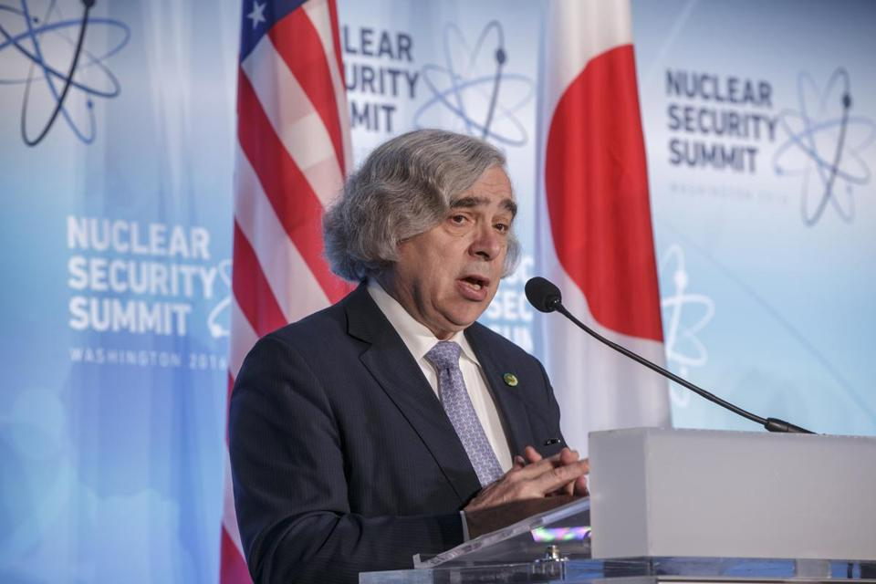Secretary of Energy Ernest Moniz delivered a statement after meetings at the Nuclear Security Summit in Washington.