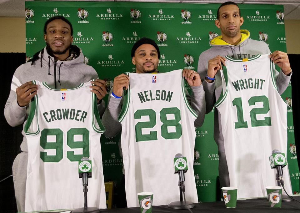 Boston, MA 12/19/14 Boston Celtics introducing their newest players from the Rajon Rondo trade, (l to r) Jae Crowder, Jameer Nelson, and Brandan Wright at TD Garden on Friday December 19, 2014. (Matthew J. Lee/Globe staff) Topic: 20celtics Reporter: