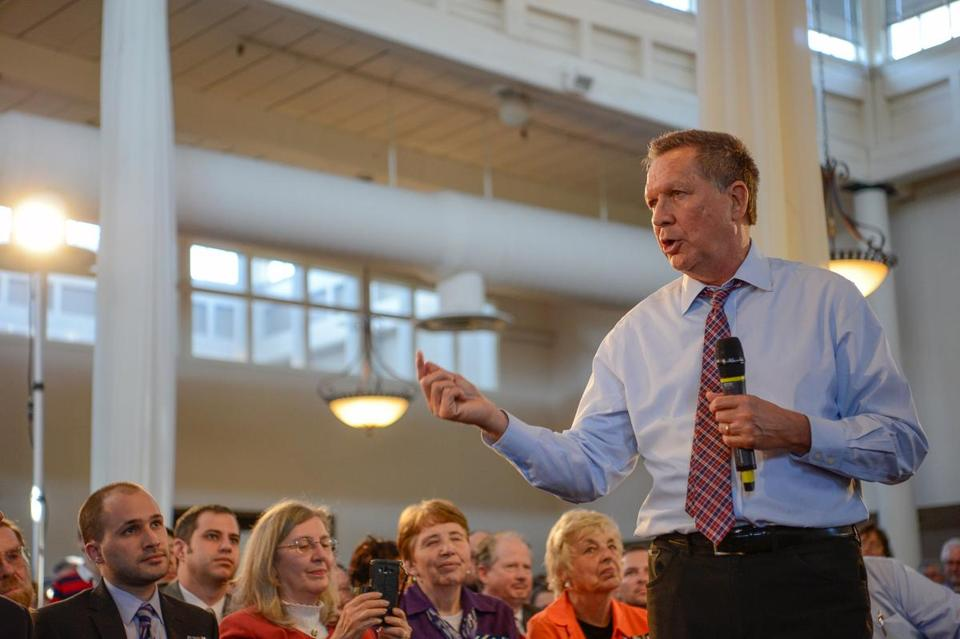 John Kasich addresses a town hall meeting in Savage, Md., on April 13.
