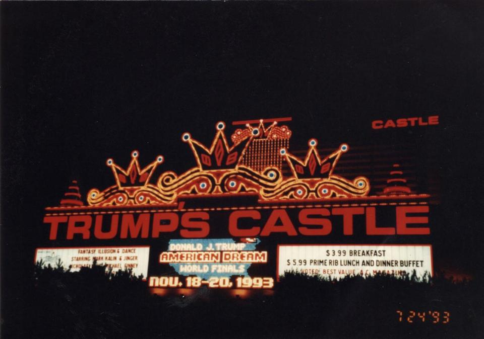 Signs outside of the Trump's Castle Hotel and Casino advertised the Donald J. Trump American Dream World Finals.