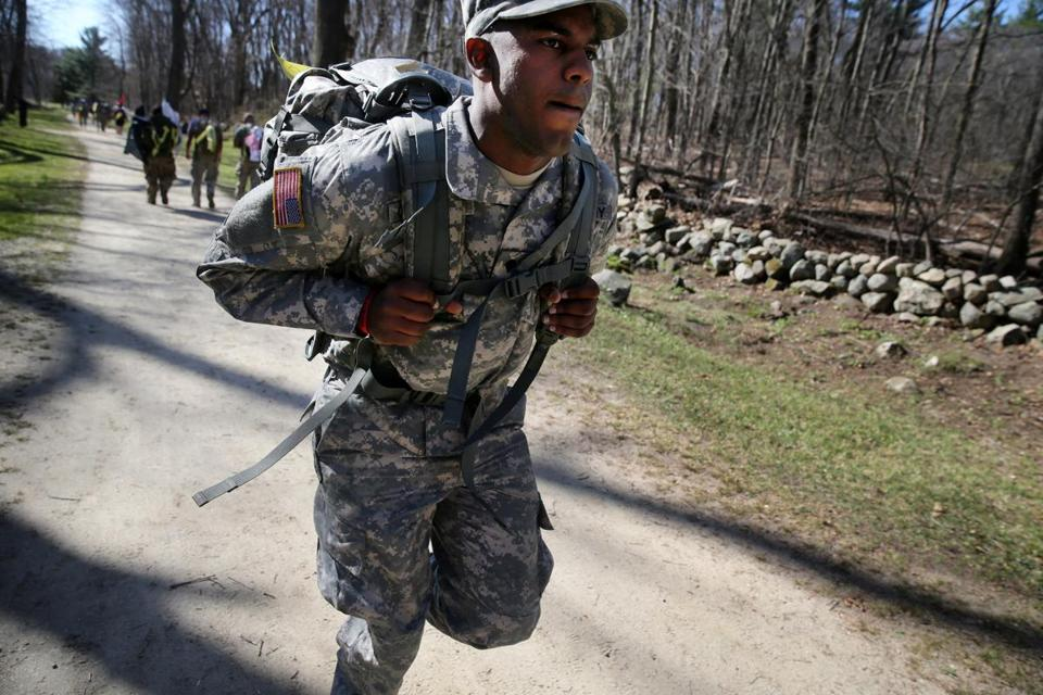 Army Specialist Adonis Carrasco, 23, of Westford, ran through the Minuteman National Historical Park with his 45-pound rucksack during Tough Ruck.
