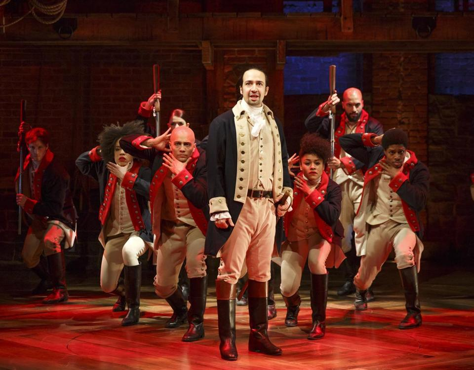 "Lin-Manuel Miranda (foreground) with the cast during a performance of ""Hamilton"" in New York."
