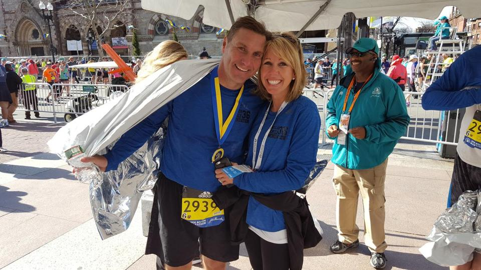 Mississippi State football coach Dan Mullen and his wife, Megan, after the coach finished the Boston Marathon.