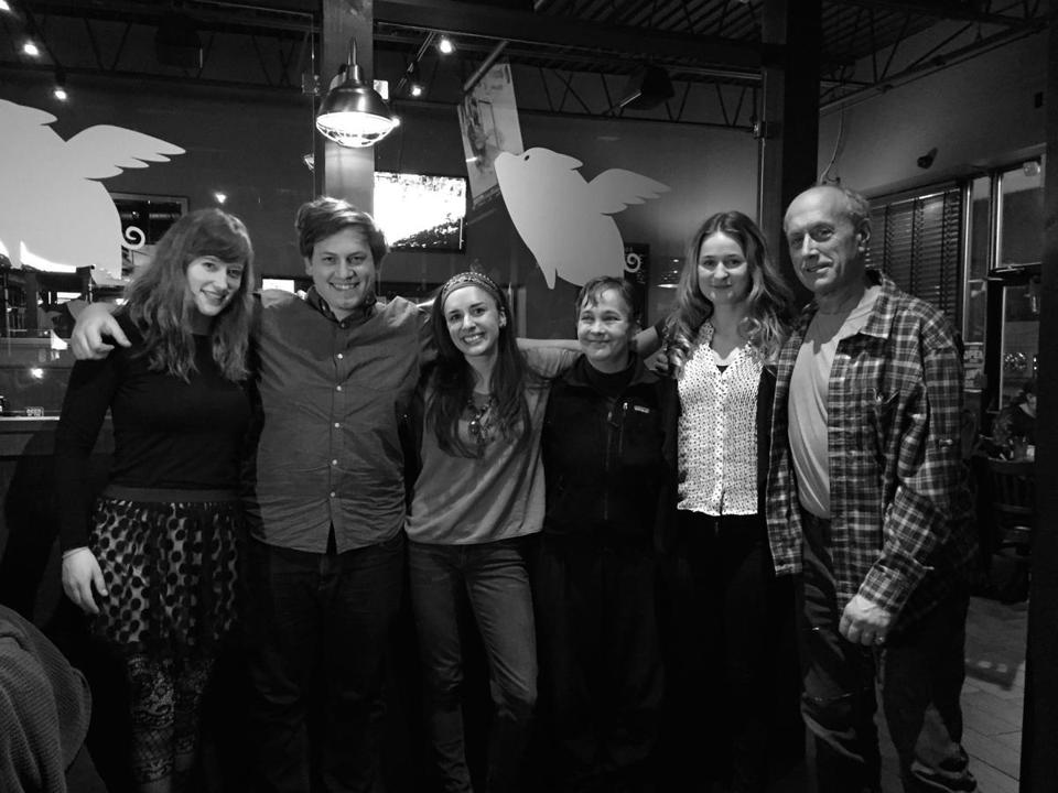 "(From left) Rachel Bartels, Cam Torres, Rachel Tondreault, Amy Thompson, Ana Bess Moyer Bell, and Paul Kandarian of the theater production ""Four Legs to Stand On."""