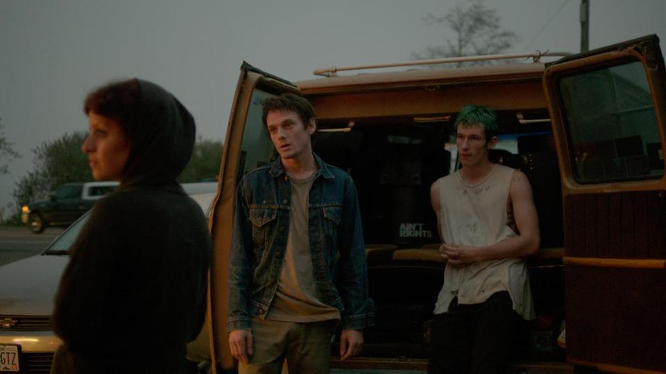 "From left: Alia Shawkat, Anton Yelchin, and Callum Turner in ""Green Room."""