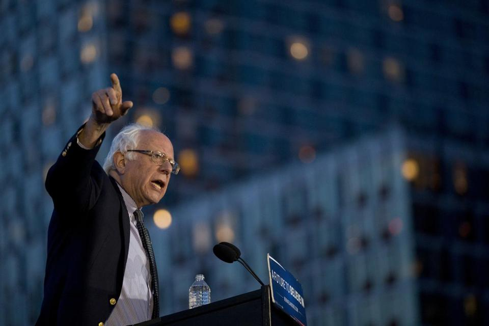 Democratic presidential candidate Bernie Sanders, I-Vt., speaks during a campaign rally at Hunters Point park, Monday, April 18, 2016, in the Queens borough of New York. (AP Photo/Mary Altaffer)