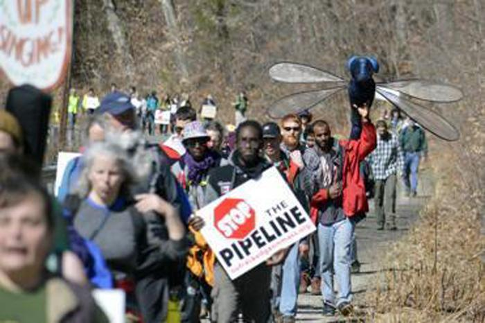 Protesters marched in Cummington on March 17 against the Kinder Morgan natural gas pipeline proposed for Western Massachusetts.