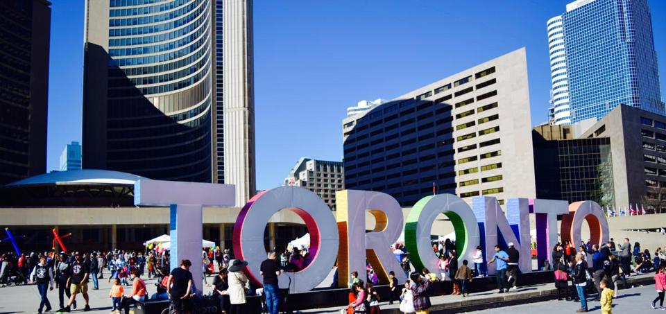 Nathan Phillips Square outside City Hall in Toronto.