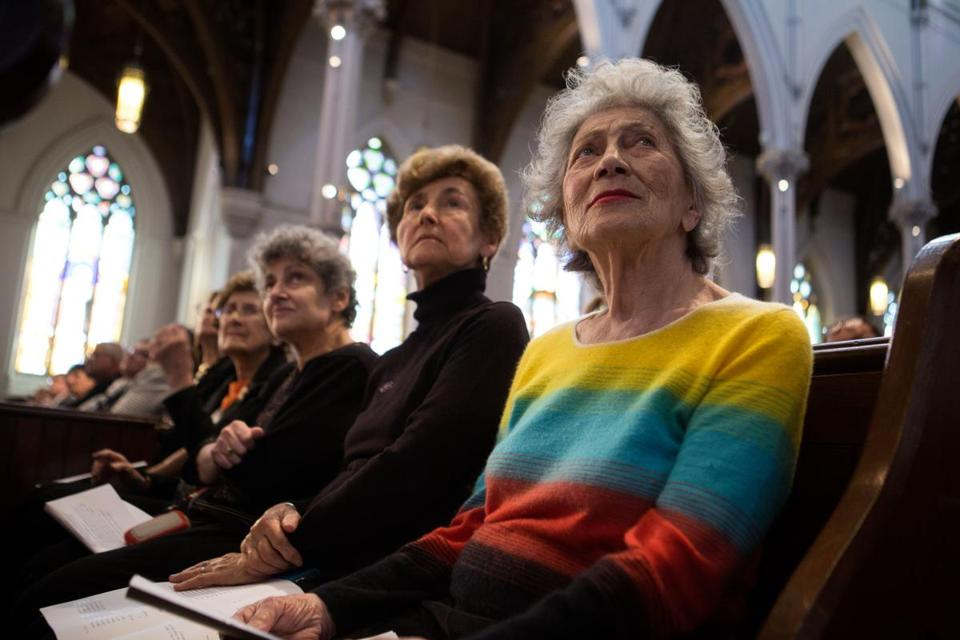 From left: Siranoosh Martin, Alma Sahagian, and Nancy Kalajian attended Saturday's service at the Cathedral of the Holy Cross.