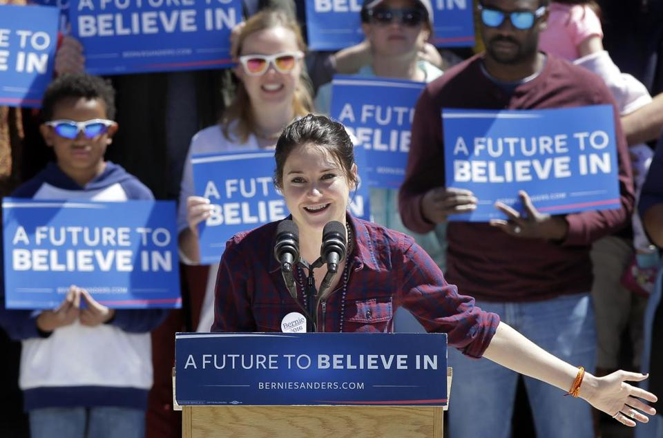 Actress Shailene Woodley introduced Sanders at the rally.
