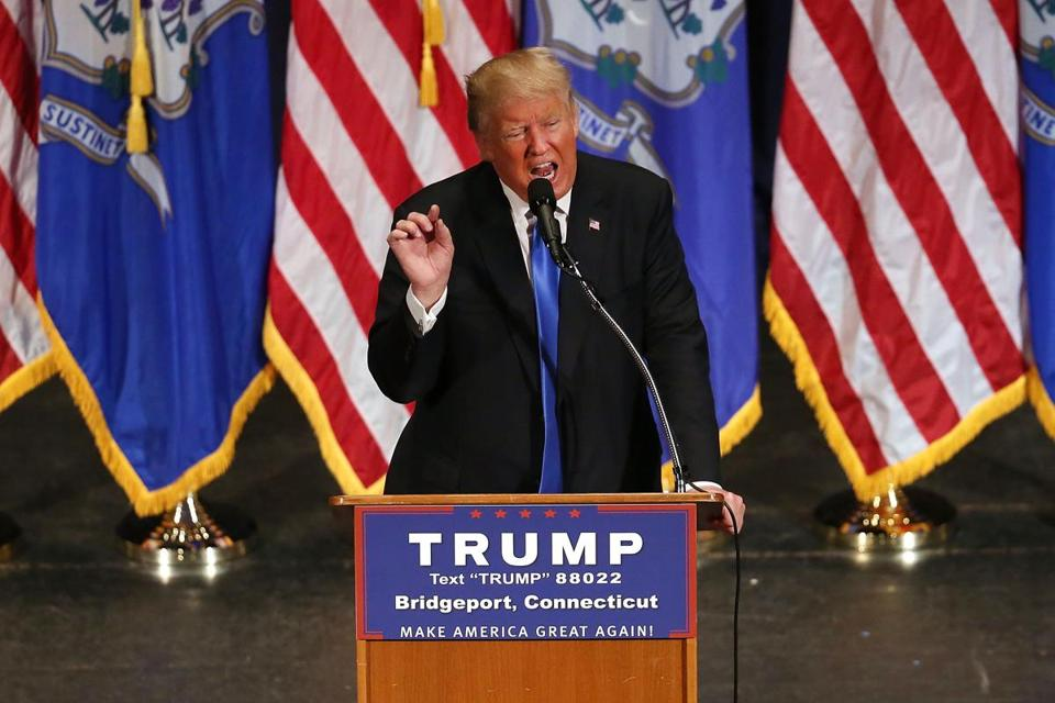 Republican presidential candidate Donald Trump spoke Saturday at a rally in Bridgeport, Conn.