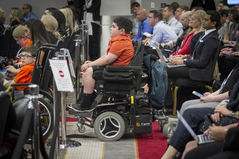 Dominic Romito watched during testimony about Sarepta's clinical trial of an experimental drug to treat Duchenne muscular dystrophy.