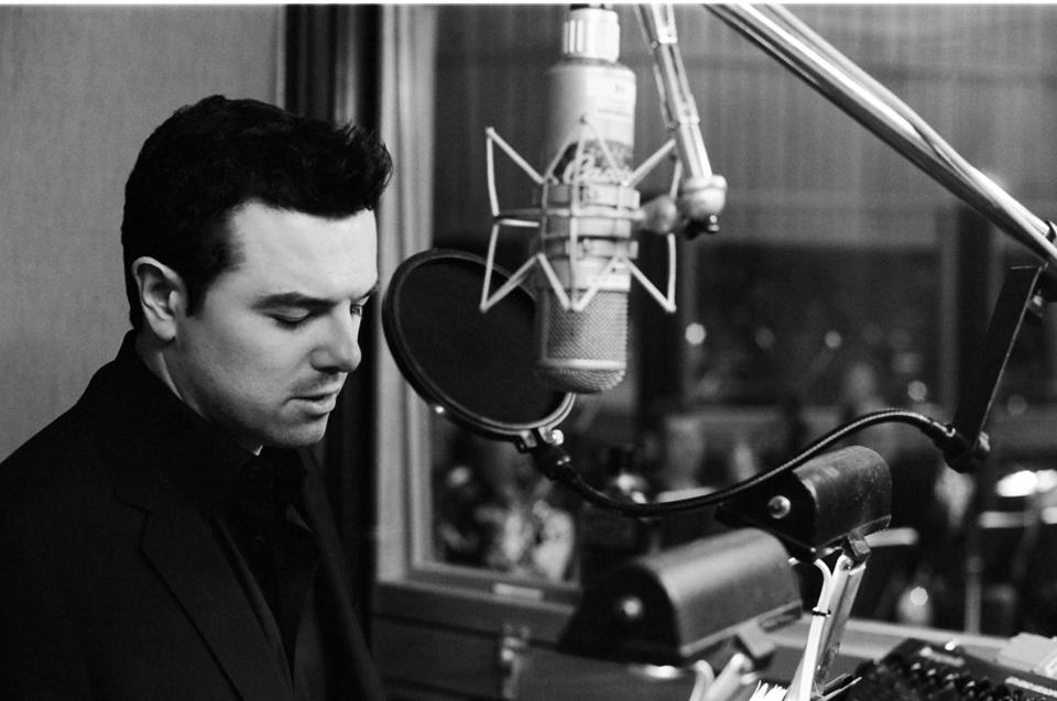 Seth MacFarlane (pictured in a recording studio) has received Grammy nominations for his comedy and traditional pop vocal albums.