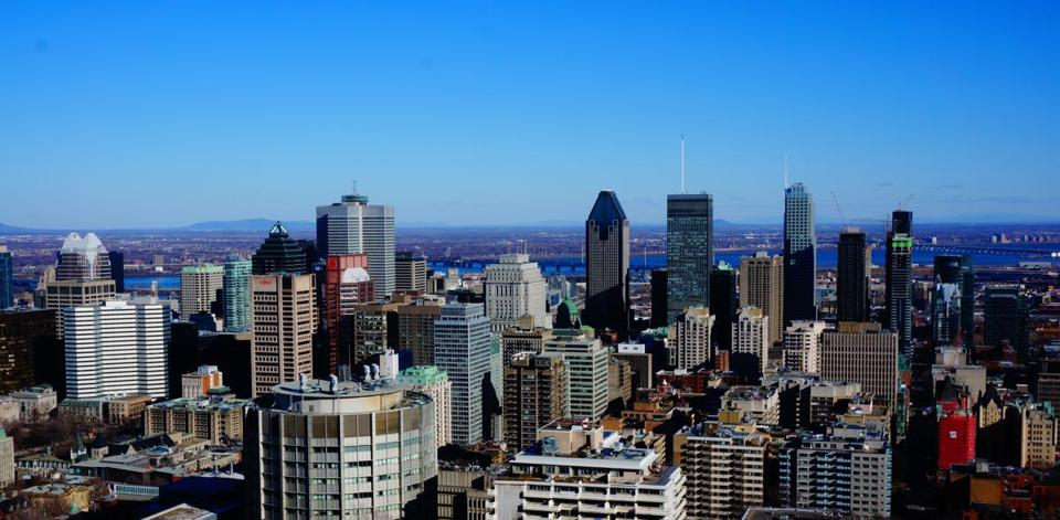 The skyline of Montreal from Mount Royal.