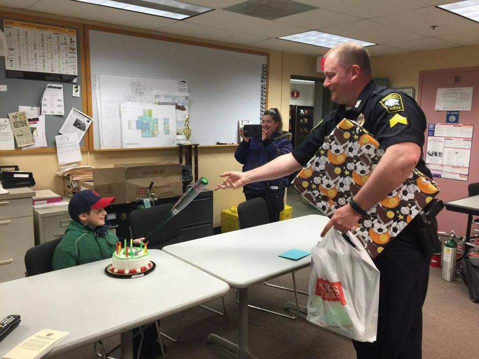10 Year Old William Behl Was Surprised With Birthday Presents At The Randolph Police