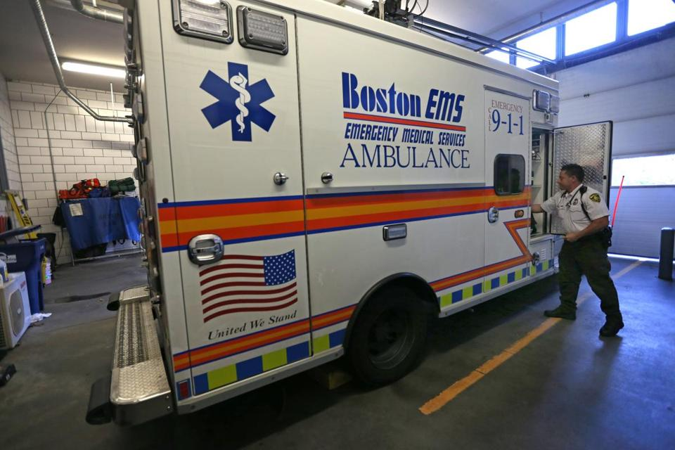 Paramedic Miguel Diaz checked equipment at 109 Purchase St. in November. A proposed budget includes a funding increase to hire more personnel and replace some ambulances to improve response times.