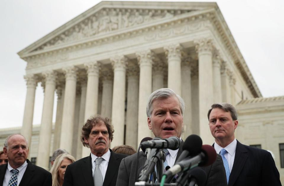 Bob McDonnell, the former governor of Virginia, spoke to the media outside the US Supreme Court on April 27.