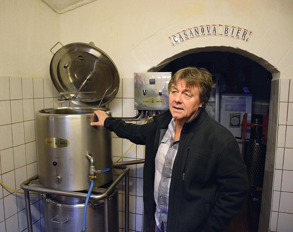 Gunther Baumann in his basement brewpub, Richelbrau, located in Neuehausen, a residential area of Munich.