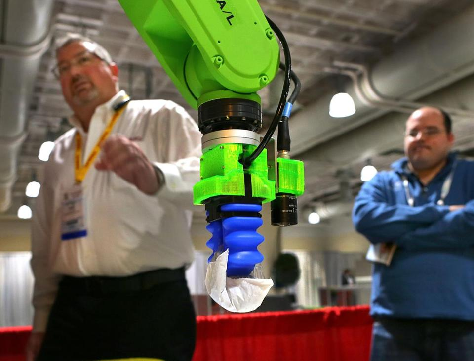 A Fanuc Robot CR-7iA retrieved a bag of screws.