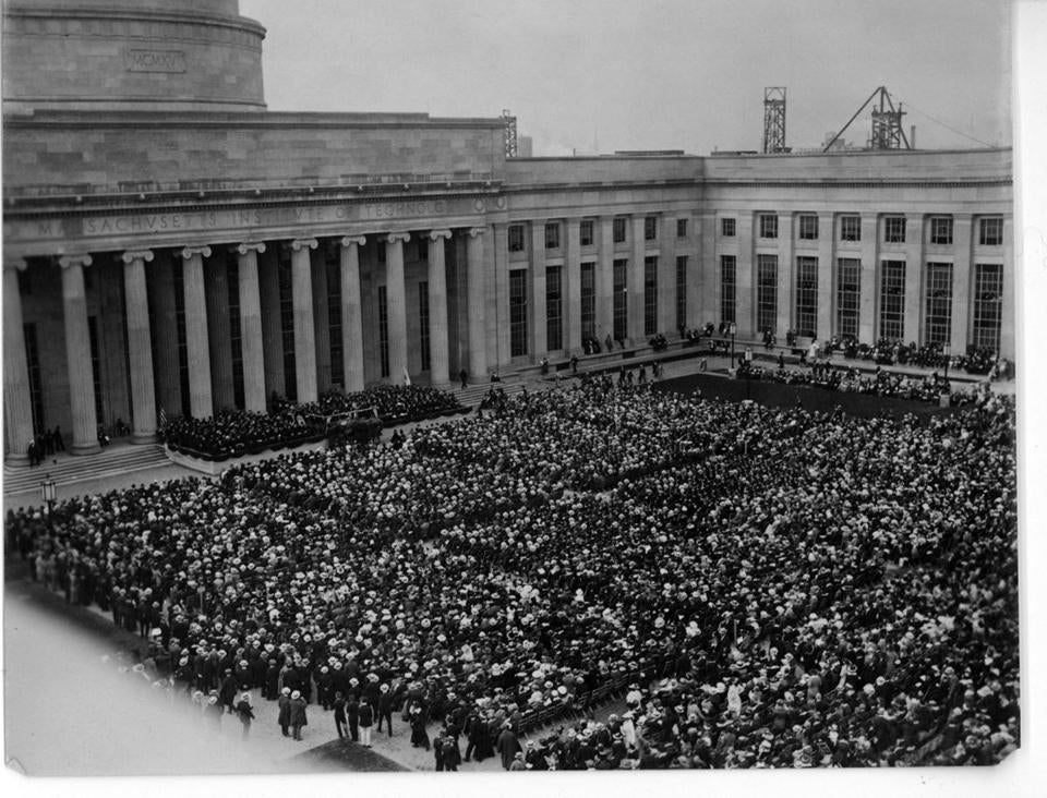 This weekend's parade will celebrate the 100th anniversary of MIT's move to Cambridge. Above, the formal dedication ceremony for the new campus in 1916.