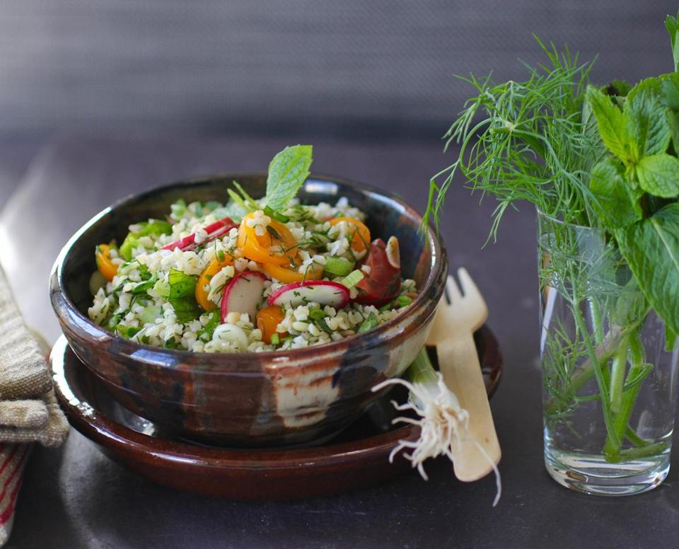 Recipe for bulgur and orzo salad with mint and lemonThe Boston