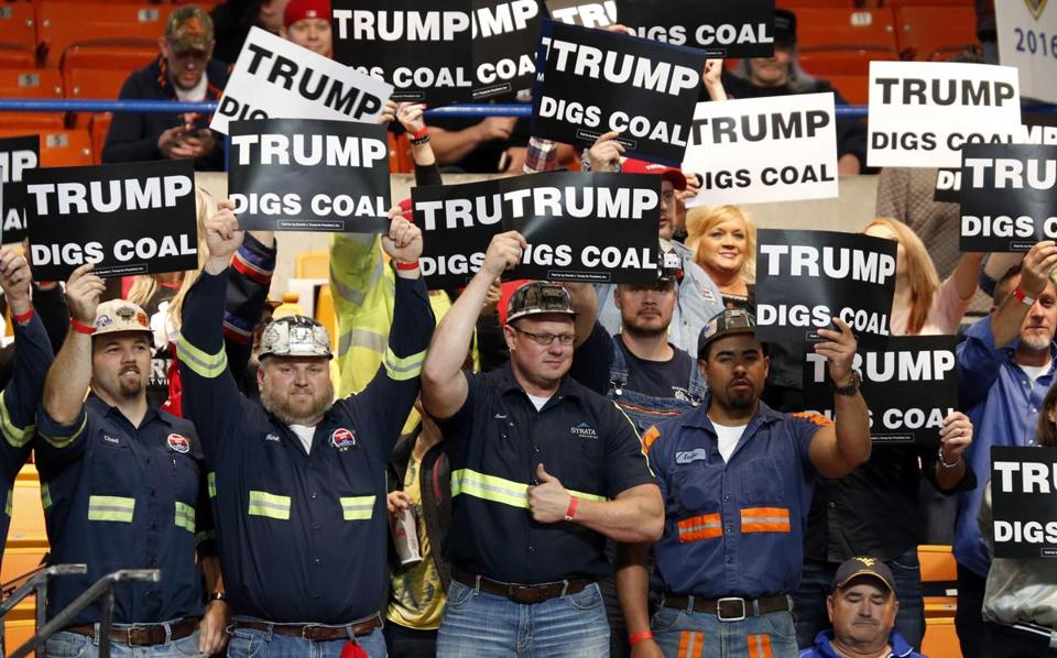 A group of coal miners at a  Donald Trump rally in Charleston, W.Va., on Thursday.