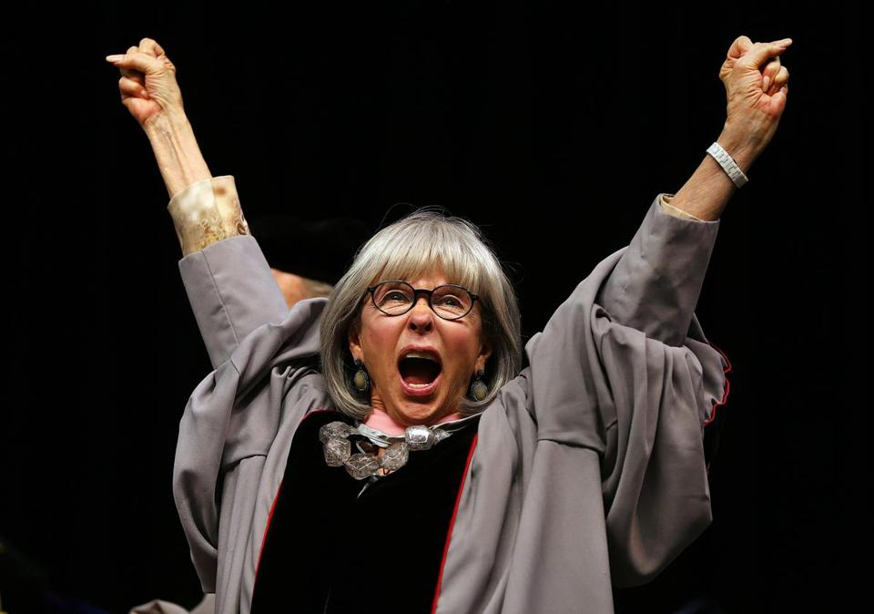 Rita Moreno was awarded an honorary degree of Doctor of Music at Berklee College of Music, and then threw her arms up in joy.