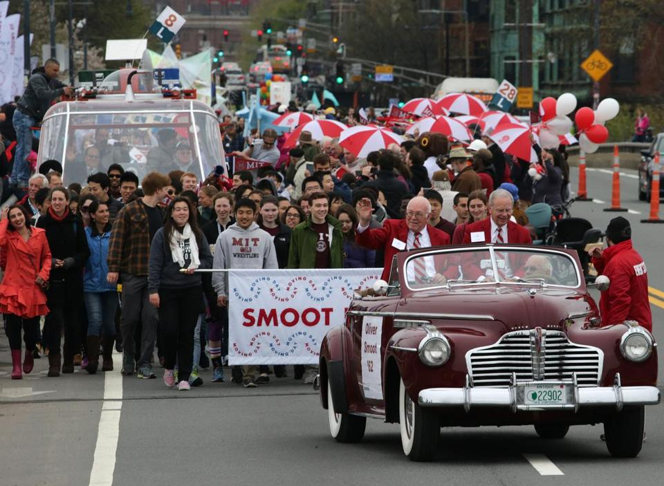 "MIT celebrated 100 years in Cambridge with ""Moving Day at MIT,"" led by Grand Marshal Oliver Smoot."