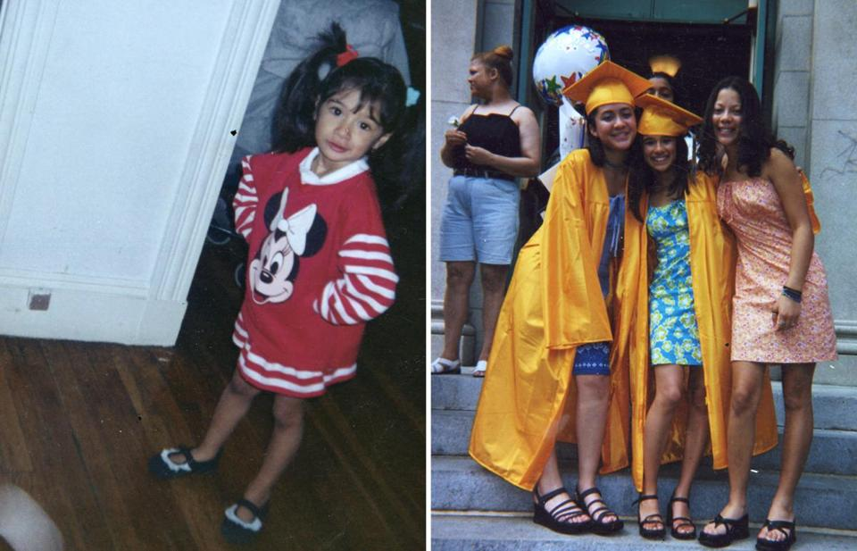 Guerrero, left, as a young child, and center right, with friends at her eighth grade graduation.