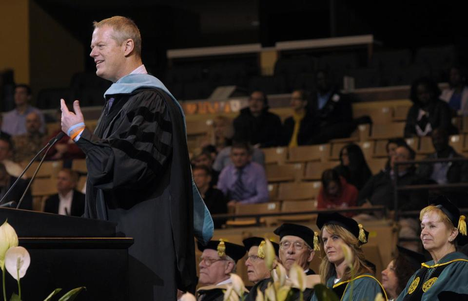 "During his commencement address on Mother's Day at the DCU Center in Worcester, Governor Charlie Baker told Nichols College graduates that his mother has ""never complained"" during her struggle with Alzheimer's disease."