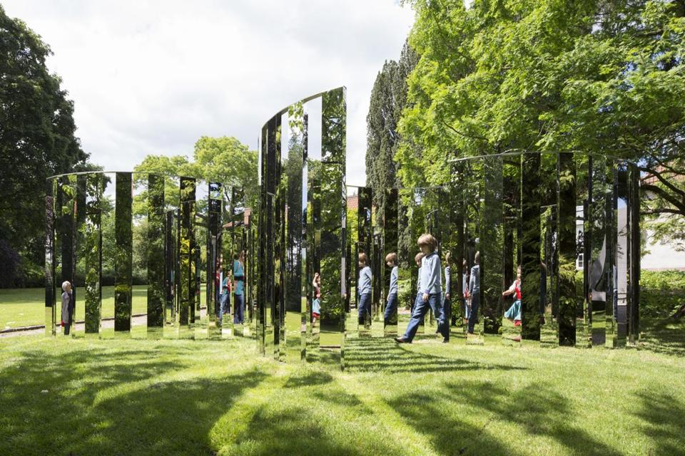 "An earlier version of Jeppe Hein's ""Semicircular Mirror Labyrinth II,"" which is en route to World's End in Hingham."