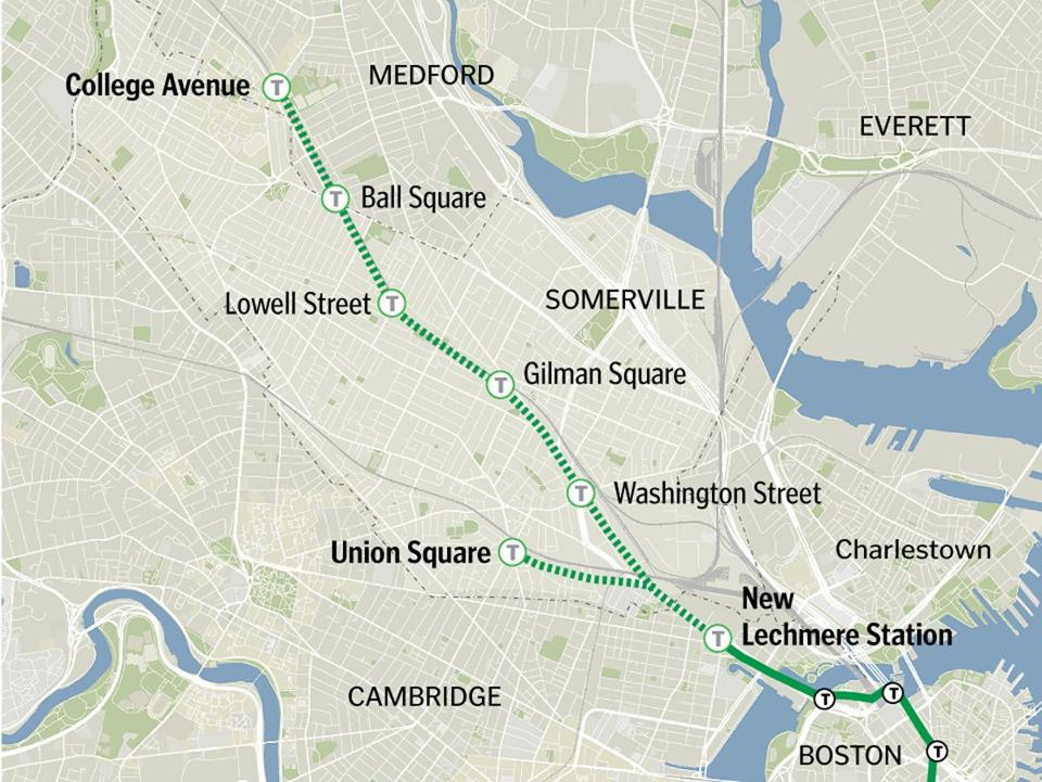 The 4.7-mile Green Line extension would include six new stations, as well as a relocated Lechmere stop.