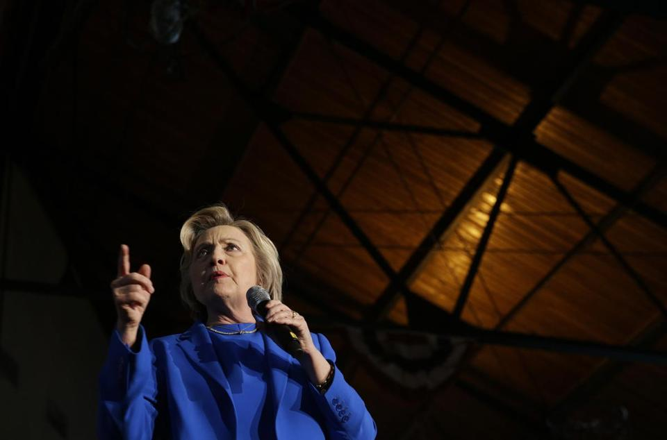 Democratic presidential candidate Hillary Clinton spoke during a rally in Louisville, Ky.