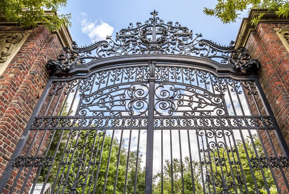 Harvard University's iron gate in Cambridge, Massachusetts, USA.; Shutterstock ID 174437792; PO: oped