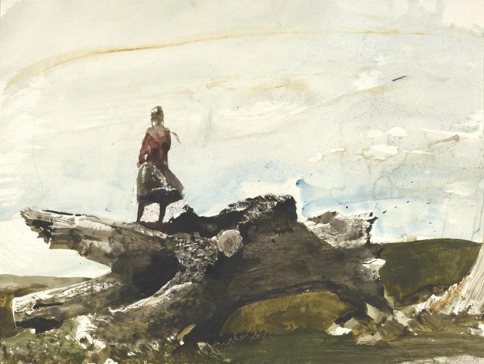 """Untitled (Helga Looking from Afar)"" is among the works of Andrew Wyeth on display at Adelson Galleries Boston."