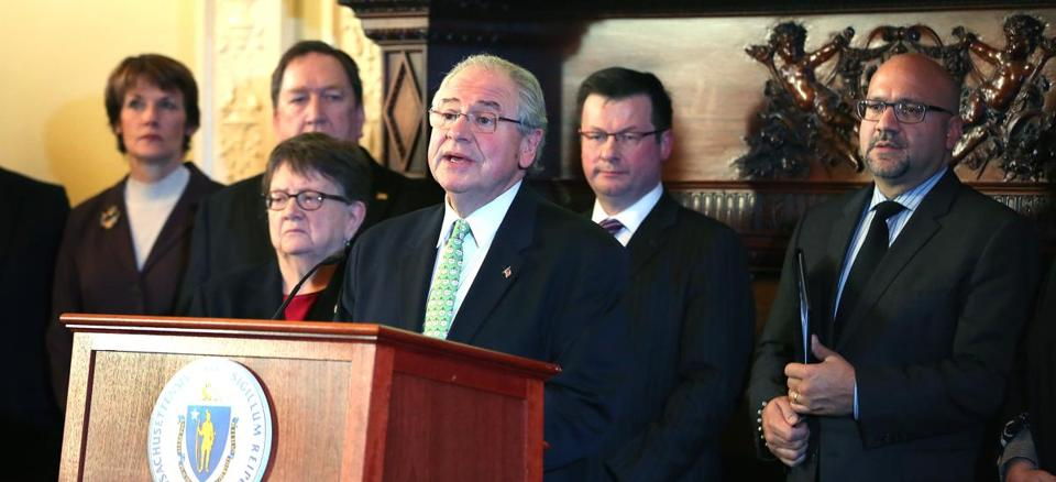 Boston, MA--1/11/2016--House Speaker Robert A. DeLeo (cq), with several lawmakers and healthcare industry representatives, holds a press conference, on Monday, January 11, 2016, to discuss opioid legislation expected to pass the House on Wednesday. Photo by Pat Greenhouse/Globe Staff Topic: 12opioid Reporter: David Scharfenberg