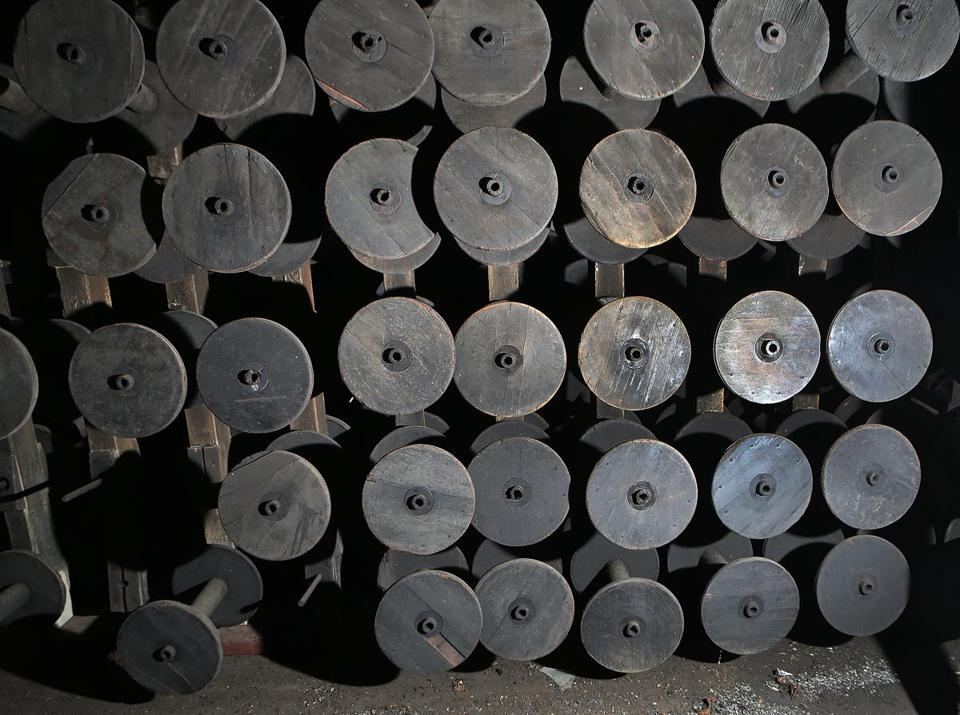 BOSTON, MA - 5/12/2016:Spools that were used in the facility on the second floor. The renovating the old 'ropewalk' facility at the Charlestown Navy Yard, turning it into high end housing. Joe Timilty is renovating the old 'ropes factory' at the Charlestown Navy Yard, turning it into high end housing. (David L Ryan/Globe Staff Photo) SECTION: BUSINESS TOPIC 17ropefactory