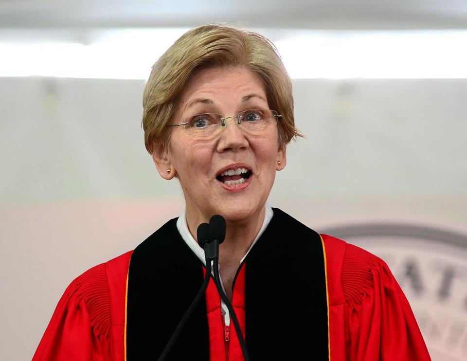 Bridgewater 05/14/2016 : During the Bridgewater State University 175th Commencement Convocation, U.S. Senator Elizabeth Warren addresses the crowd during her Commencement address. Photo by Debee Tlumacki for the Boston Globe (metro)