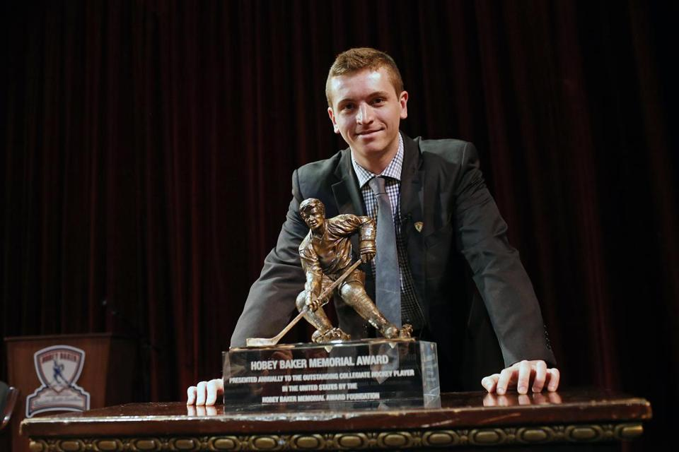 Jimmy Vesey attended a reception last week at the Harvard Club to recognize the 2016 Hobey Baker Award winner.