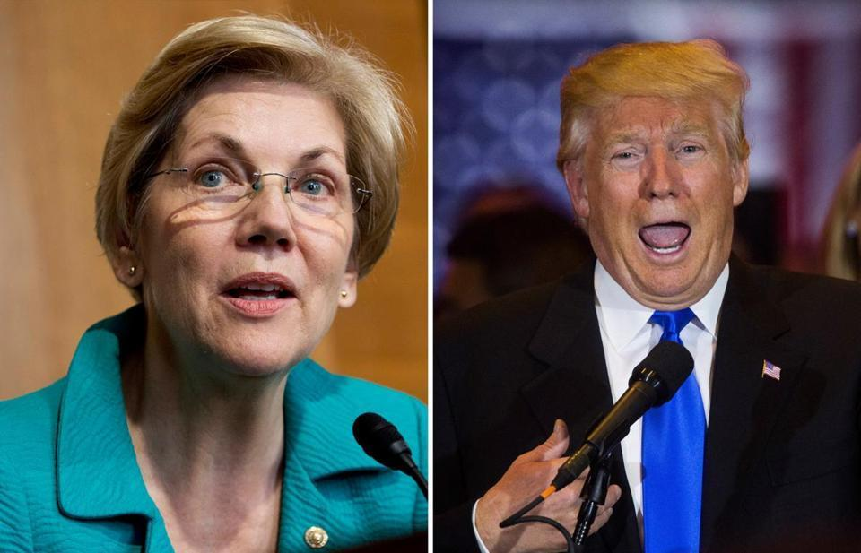 The feud between Donald Trump (right) and Elizabeth Warren is surfacing yet again.