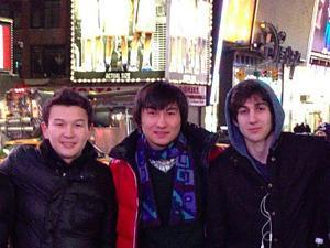 SMALL FILE SIZE: The two men, Dias Kadyrbayev, center, (purple scarf) and Azamat Tazhayakov, left, (puffy jacket), came to America from the Central Asian nation to study at the University of Massachusetts at Dartmouth, where Dzhokhar Tsarnaev, right, was also enrolled. (Image taken from Dias Kadyrbayev's webpage)