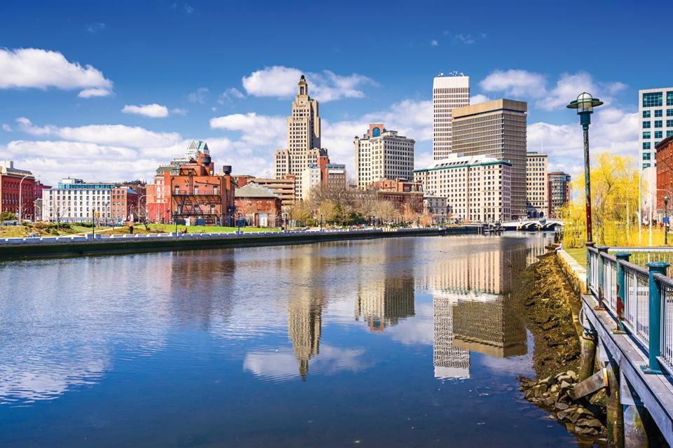 Providence, Rhode Island, USA city skyline on the river.; Shutterstock ID 284833991; PO: 0522-TravelCover-Providence