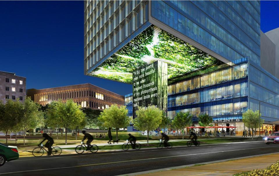 Rendering of a building on Main Street that is part of in the Kendall Square Initiative.