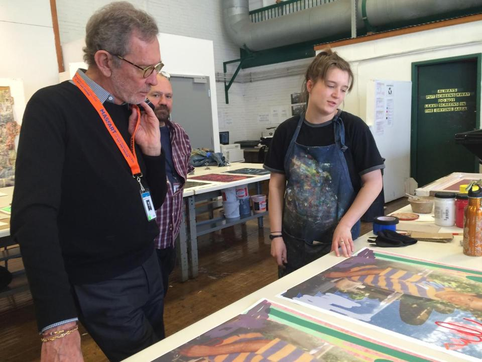 Names- Arne Glimcher with student Grace Shandy in MassArt's Print Making Studio. Arne Glimcher's will be giving a $1m gift to the galleries campaign at MassArt. (handout)