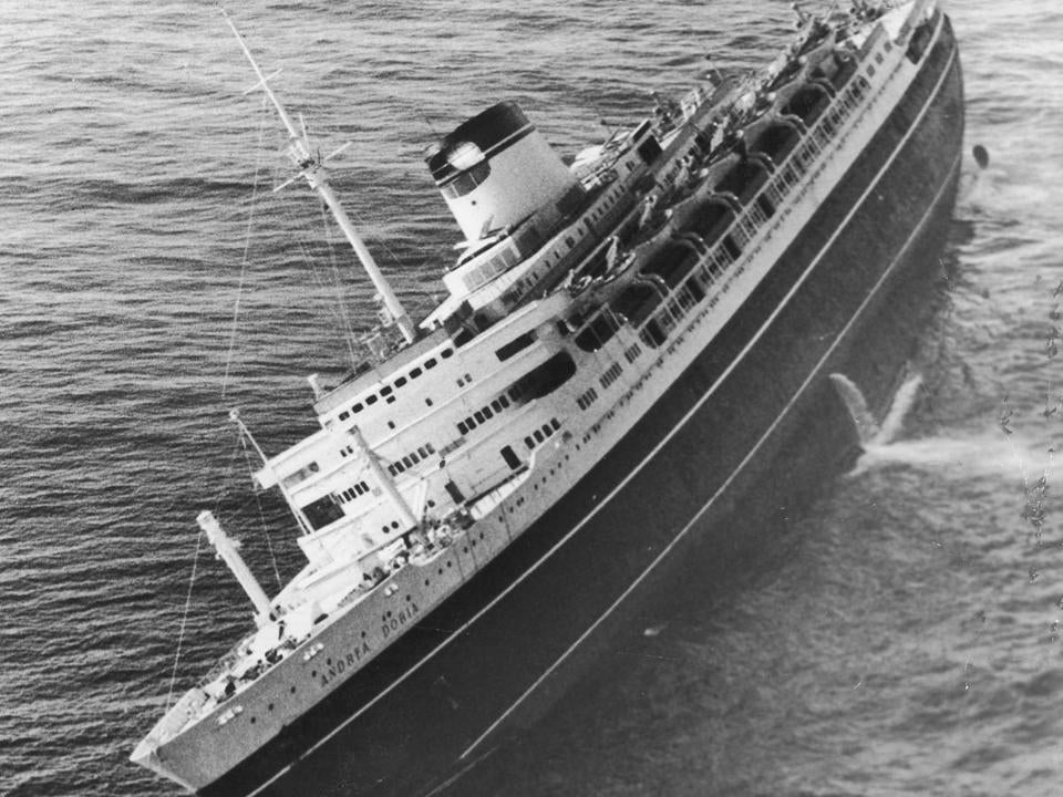 The Andrea Doria listed to starboard off Nantucket in 1956.