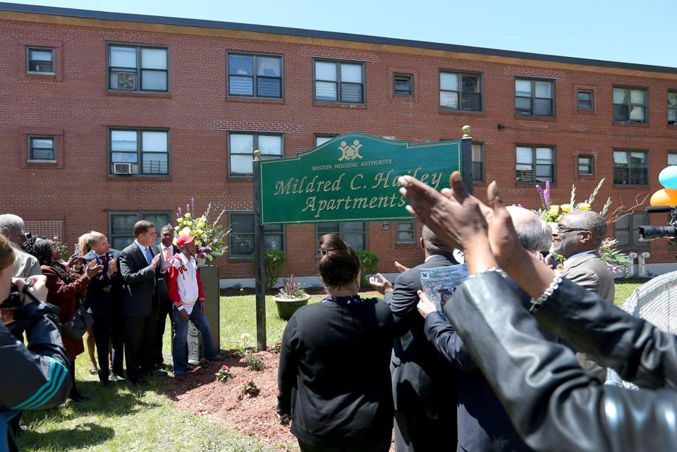 After a ceremony at the former Bromley-Heath development, officials lifted a covering to reveal a green-and-gold sign that bears Mildred C. Hailey's name.