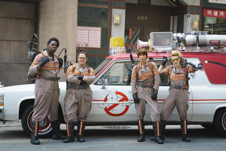 """Ghostbusters"" castmates (from left) Leslie Jones, Melissa McCarthy, Kristen Wiig, and Kate McKinnon."